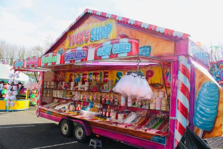 Tuck's Shop one of our catering units that is designed for selling Candy Floss, Toffee Apples and Sweets
