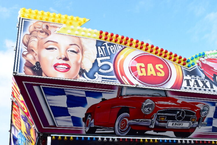 Photograph of of the artwork on our Rock'n' Roll Dodgem Carss that are available t hire