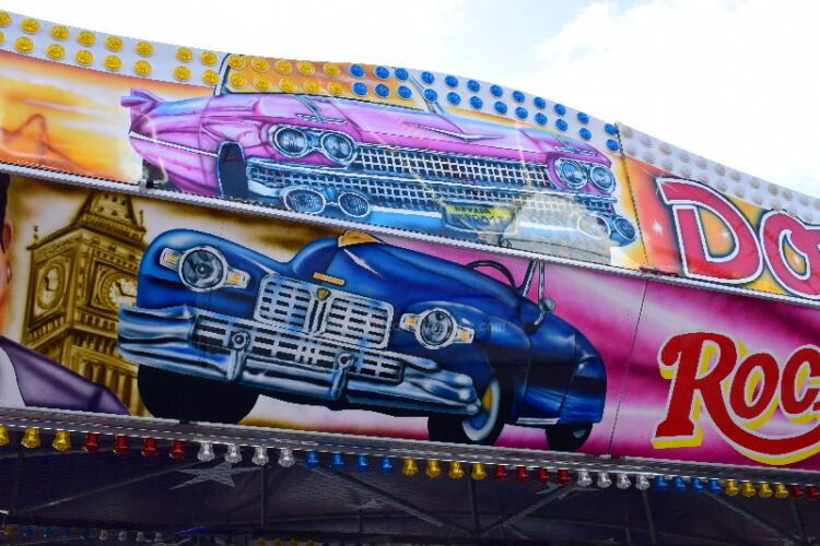 Photograph of of the artwork on our Rock'n' Roll Dodgem Cars
