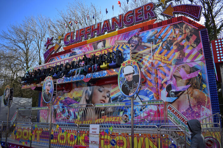Photograph of George Rowland Tuckers Cliifhanger Miami, one of our funfair rides that is available to hire