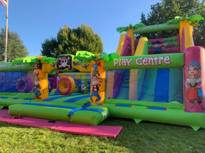Photograph of our Pirate themed bouncy castle inflatable, which is available to hire